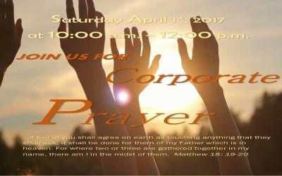 Corporate Prayer, April 1st, 2017